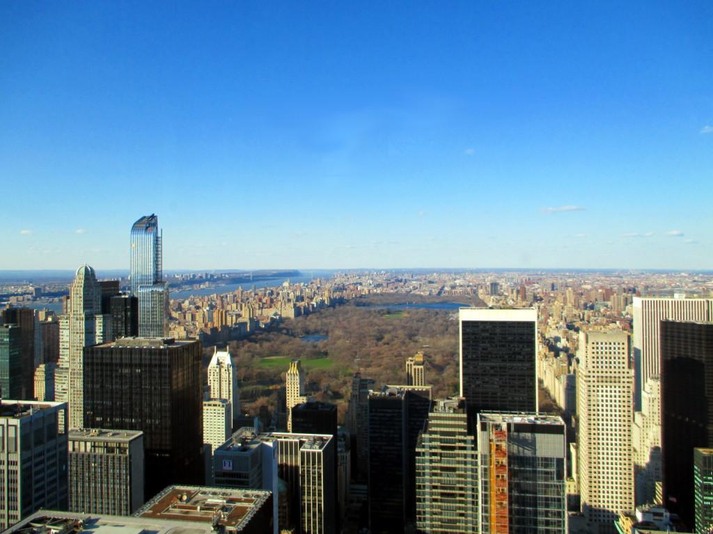 Central Park, la vue est aussi du Rockfeller Center.