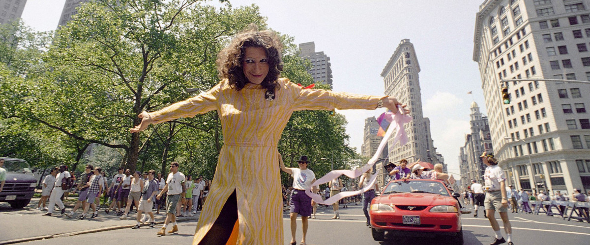 Trans advocate Sylvia Rivera, who helped spark the Stonewall riots of 1969, leads a 25th anniversary commemorative march for the gay rights movement in New York on June 26, 1994. (AP Photo/Justin Sutcliffe)