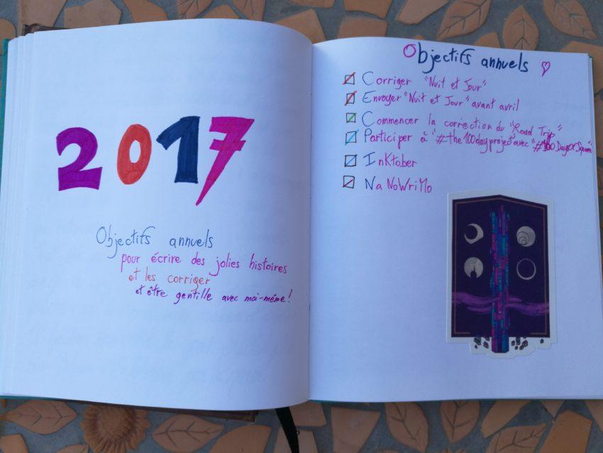 carnet de bord d'écriture page d'année
